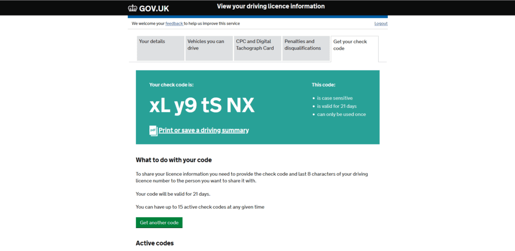 Driving License Check Code