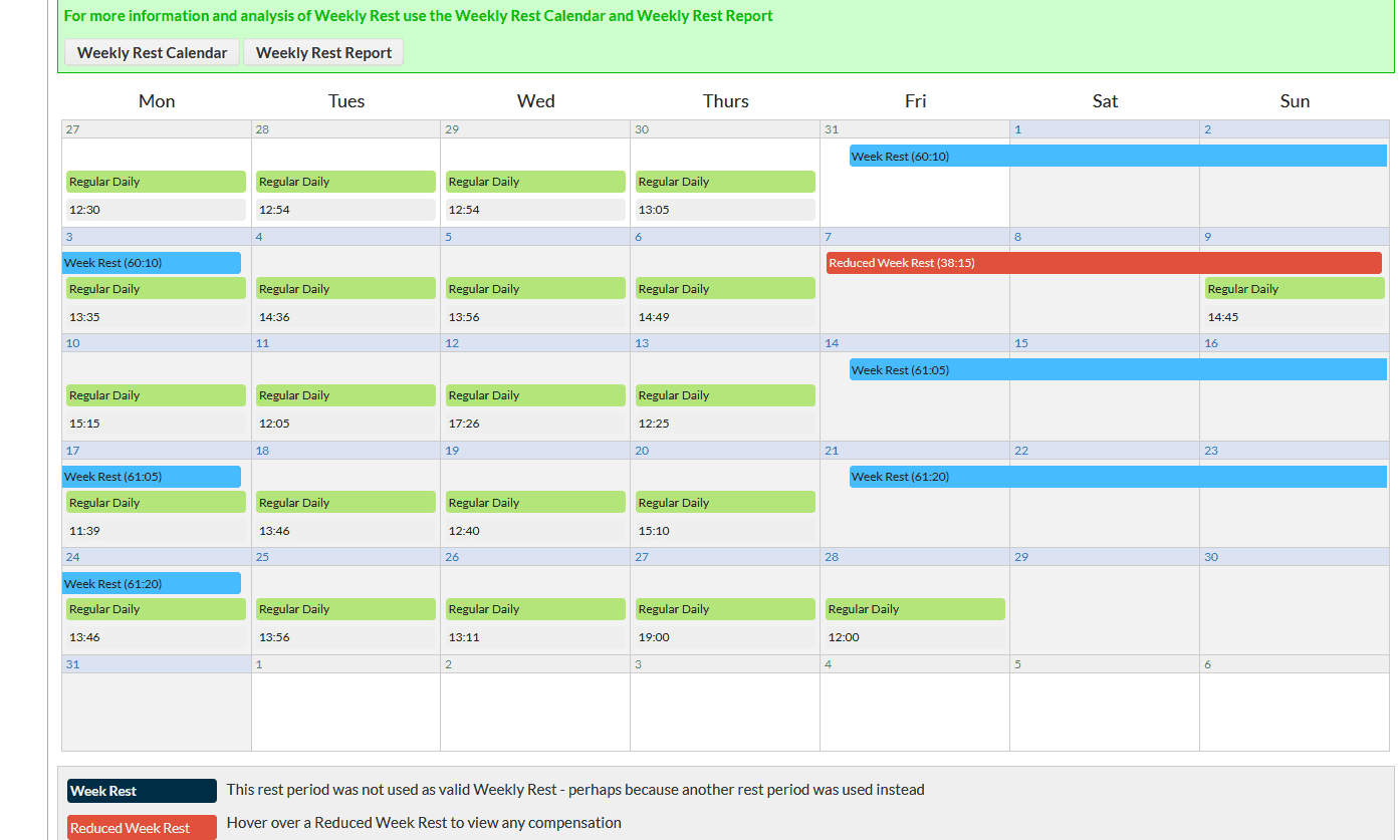 Rest day calender